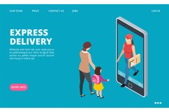 Express delivery isometric. Vector fast delivery landing pag Product Image 1
