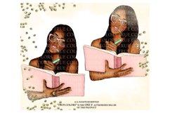 Dark Skin Planner Girl Clip Art/Planner Girl Clipart Product Image 2