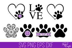 Dog Paw Print SVG Cut File | Heart Paw Print SVG Cricut Product Image 1