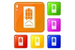 Door with glass icons set vector color Product Image 1