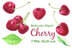Watercolor Cherry Clipart Food Png Product Image 2
