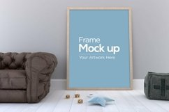 Kids Photo Frame Mockup design laying on floor with sofa Product Image 2