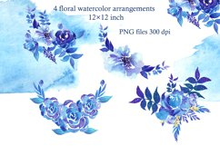 Winter roses wreaths and frames,Watercolor Flowers Clipart Product Image 6