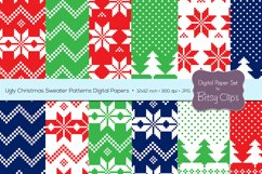 Ugly Christmas Sweater Patterns Digital Paper Set Commercial Use Christmas Scrapbook Paper Background Pattern Product Image 1