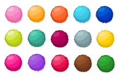 Colorful fluffy pompom fur balls isolated vector set Product Image 1