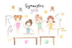 Watercolor Gymnastic Girls. Patterns and Cliparts Product Image 2