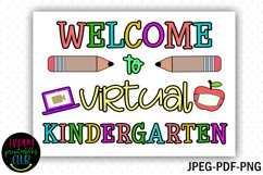 Welcome to Virtual Kindergarten- First Day Kindergarten Sign Product Image 2