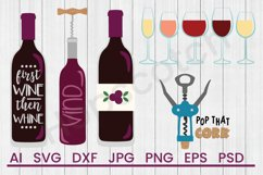 Wine SVG Bundle, DXF File, Cuttable File Product Image 1