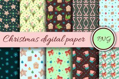New Year's digital paper. Watercolor print with christmas Product Image 1