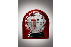 3D Snow Globe Classic Red Telephone Box greetings card Product Image 2