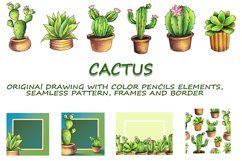 CACTI. ORIGINAl DRAWING WITH COLOR PENCILS ELEMENTS. Product Image 1