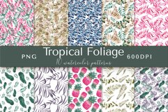 Tropical Foliage Watercolor Patterns Product Image 1