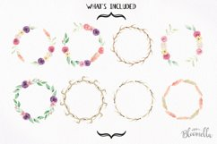 Watercolor Antler Flower Wreath Floral Clipart Set Product Image 2