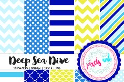 Digital Paper in Blues, Yellows and Greens Product Image 1