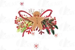 Christmas wreath Clip art, Holiday wreath, watercolor pine wood and berry fruits, leaves and gingerbread man, Watercolor Wreath Product Image 10