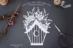 Romantic Floral Birdhouse - Papercut Template SVG JPG PNG Product Image 1