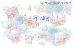 Watercolor Clipart Knitting Product Image 1