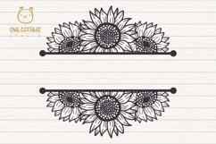 Sunflowers Split Border Monograms Set svg, floral monograms Product Image 3