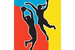 netball player jumping shooting blocking Product Image 1