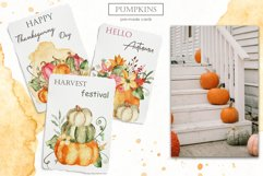 Watercolor Pumpkins. Clipart, cards, seamless patterns Product Image 5