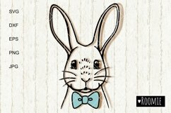 Rabbit SVG, Bunny face with bowtie svg, Happy Easter clipart Product Image 2