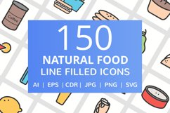 150 Natural Food Filled Line Icons Product Image 1