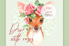 Fawn with pink roses. Clipart Product Image 1