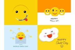 Smile Day banner set, flat style Product Image 1
