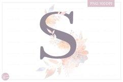 Letter S Floral MONOGRAM - elegant flower initial Product Image 1