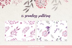 Watercolour floral borders& patterns Product Image 3