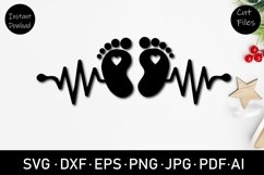 baby foot print SVG, cut file, clipart, sublimation, svg Product Image 1