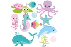 Girls Sea Animal Clipart and Digital Papers Set Product Image 2