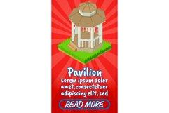 Pavilion concept banner, comics isometric style Product Image 1