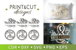 6 Wedding signs, Mr and mrs SVG, Family designs, Cricut file Product Image 1