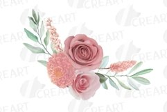 Watercolour blush flowers & green leaves bridal templates. Product Image 6