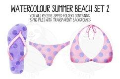 Watercolor Summer Beach Clip Art Set 2 Product Image 3