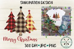 Plaid Christmas Tree Trio Sublimation Design Product Image 2