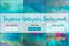 Turquoise Watercolor Background, Sublimation Watercolor Product Image 1