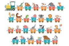 Alphabet train with animals. Cartoon animal illustration in Product Image 1