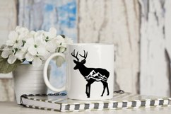 Deer Silhouette Mountain Scene, Antlers - svg, png, dxf, jpg Product Image 2