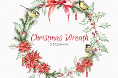 Christmas Wreath Watercolor Clipart Handpainted Illustration Product Image 1