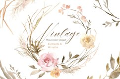 Vintage Watercolor Roses Flowers and Wreaths Product Image 1
