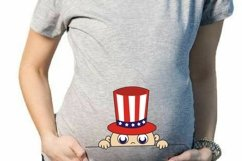 4th of July Peeking Baby SVG, baby svg, maternity svg, funny pregnancy t shirt, peeking baby t shirt, 4th of july SVG, patriotic svg Product Image 2