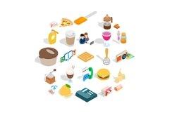 Tasty food icons set, isometric style Product Image 1