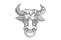 Pinzgauer Bull Head Front Doodle Art Product Image 1