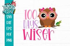 100 Days Wiser Girl Owl - School SVG Product Image 2