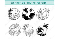 Hawaiian border Svg, Tropical frame svg, Beach Png, Eps, Dxf Product Image 1