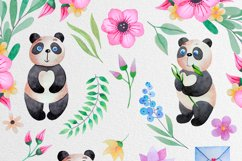Watercolor Panda and flowers Product Image 2