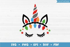 Unicorn Face with Christmas Lights SVG PNG DXF EPS PDF Product Image 1