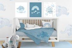 Sleeping blue elephant clipart, nursery print for boys Product Image 3